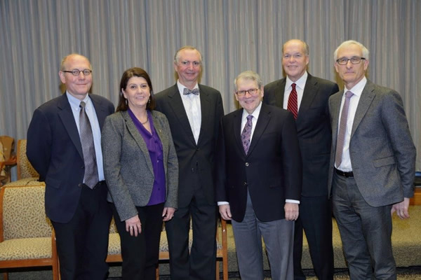NIAMS director Dr. Stephen Katz (third from r) and deputy director Dr. Robert Carter (third from l) welcome new members to the institute's council. Pictured are (from l) Dr. Stephen Tapscott Magdalena Castro-Lewis William Mulvihill and Dr. Ethan Lerner.