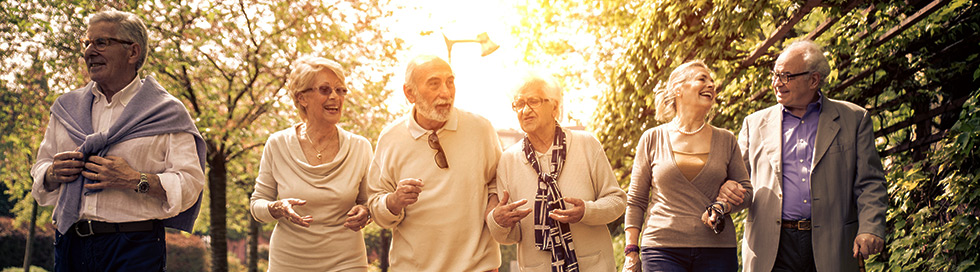 A group of elderly friends walking at sunset