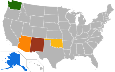 USA map highlighted on Arizona, New Mexico, Washington, and Alaska
