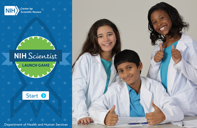 NIH Center for Scientific logo with 3 kids