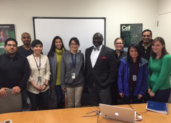 NIAMS trainees pose with guest speaker following career seminar.