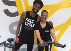 Photo of Vikki Owens with her spin instructor